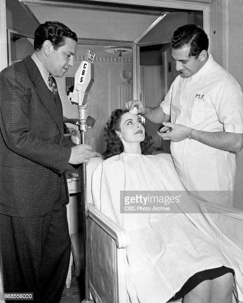 'Americans at Work' the CBS Radio program conducts interviews at the Max Factor cosmetic laboratories in Hollywood CA and at the nearby CBS Studios...