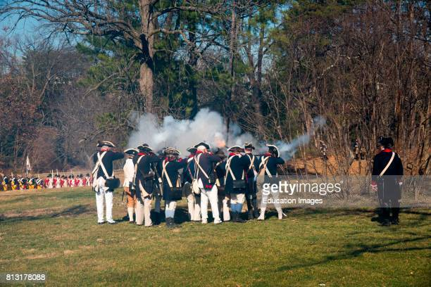 Americans fire on British troops in Revolutionary War reenactment Alexandria Virginia