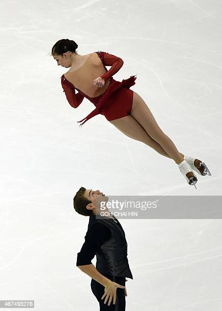 Americans Haven Denney and Brandon Frazier compete on March 25 2015 in the pairs short program during the 2015 ISU World Figure Skating Championships...