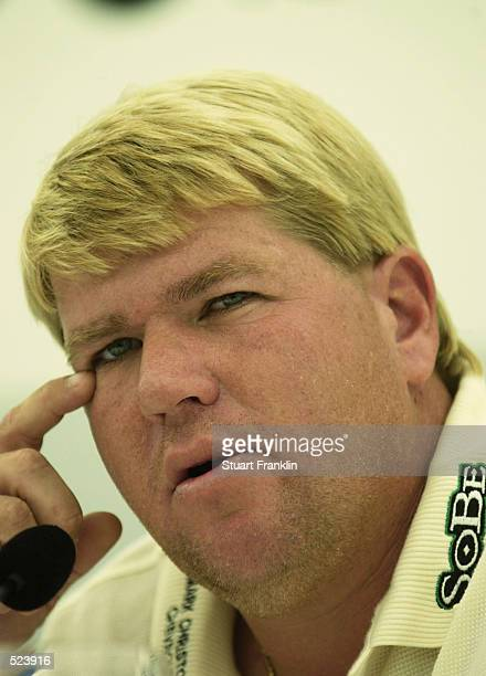 American's John Daly speaks to the press during the press conference at The Deutsche Bank SAP Open at StLeonRot Golf club near Heidleberg in Germany...