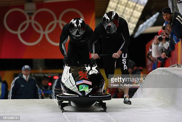Americans Todd Hays driver and Pavle <cq> Jovanovic in back begin their second run of four runs in the Two Man Bobsleigh The second two runs will be...