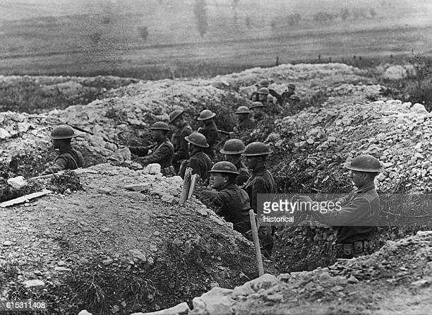 Americans troops take up a position in the trenches near Verdun France The Valley of the Meuse where 70000 soldiers died in early battles can be seen...