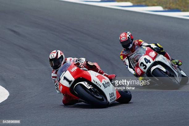 Americans Wayne Rainey and Kevin Schwantz ride during the Spanish Grand Prix