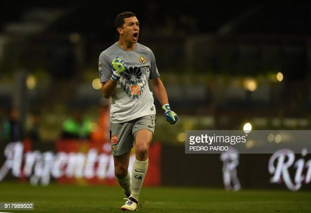 America´s Argentinian goalkeeper Agustin Marchesin celebrates the goal of his teammate Andres Uribe against Morelia during their Mexican Clausura...