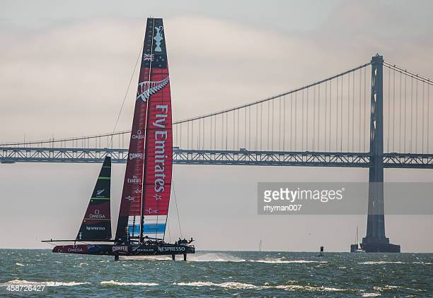americas cup race in san francisco - catamaran race stock photos and pictures