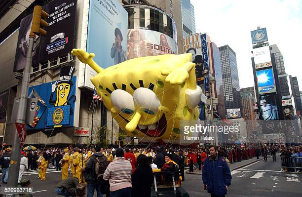America's current cartoon favorite and star of a successful movie Sponge Bob Square Pants floats above Times Square during the Macy's Annual...