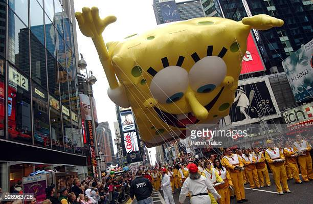 America's favorite cartoon character and star of a successful movie Sponge Bob Square Pants floats above Times Square during the Macy's Annual...