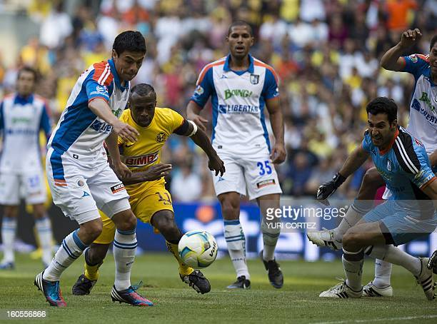 America's forward Christian Benites vies for the ball with Gallos Blanco's goalkeeper Sergio Garcia during their Clausura 2013 football match of...
