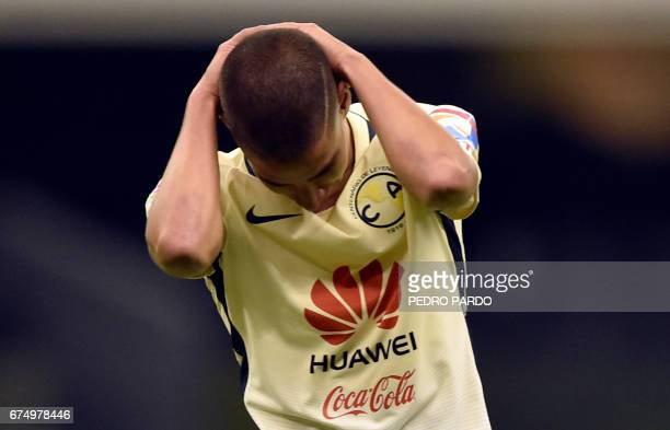 America´s forward Diego Lainez reacts after missing a shot during their Mexican Clausura 2017 Tournament football match against America at Azteca...