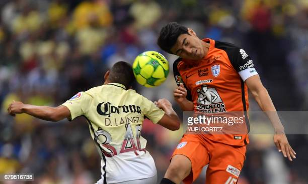America's forward Diego Lainez vies for the ball with Pachuca's midfielder Erick Gutierrez during their Mexican Clausura 2017 Tournament football...