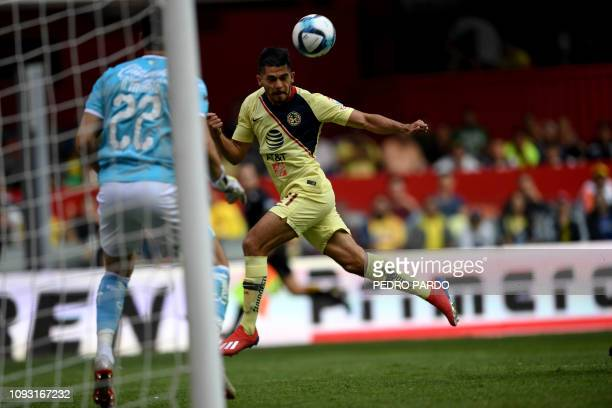 America's forward Henry Martin tries to score during their Mexican Clausura 2019 tournament football match against Queretaro at the Azteca stadium in...