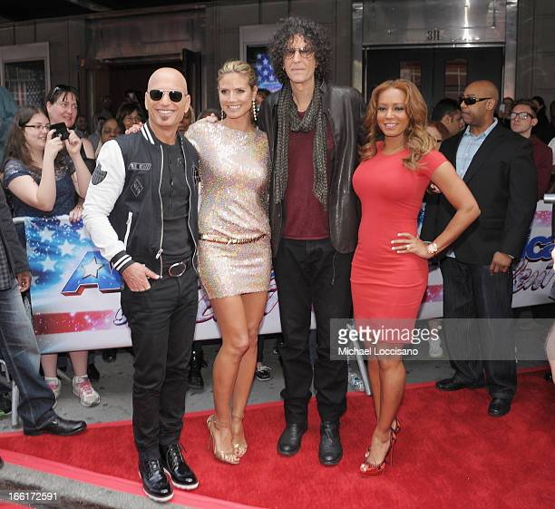 America's Got Talent judges Howie Mandel Heidi Klum Howard Stern and Mel B attend the America's Got Talent Season 8 Meet The Judges Red Carpet Event...