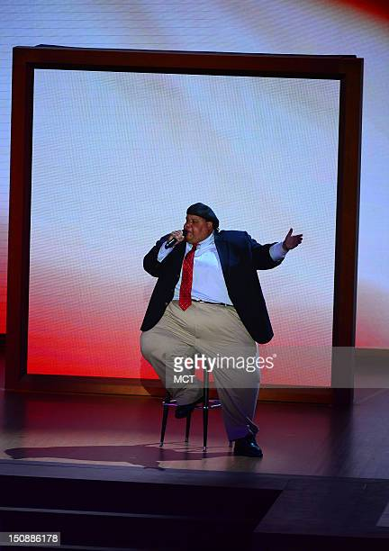 America's Got Talent winner Neal Boyd sings 'God Bless America' on the second day of the Republican National Convention in Tampa Florida Tuesday...