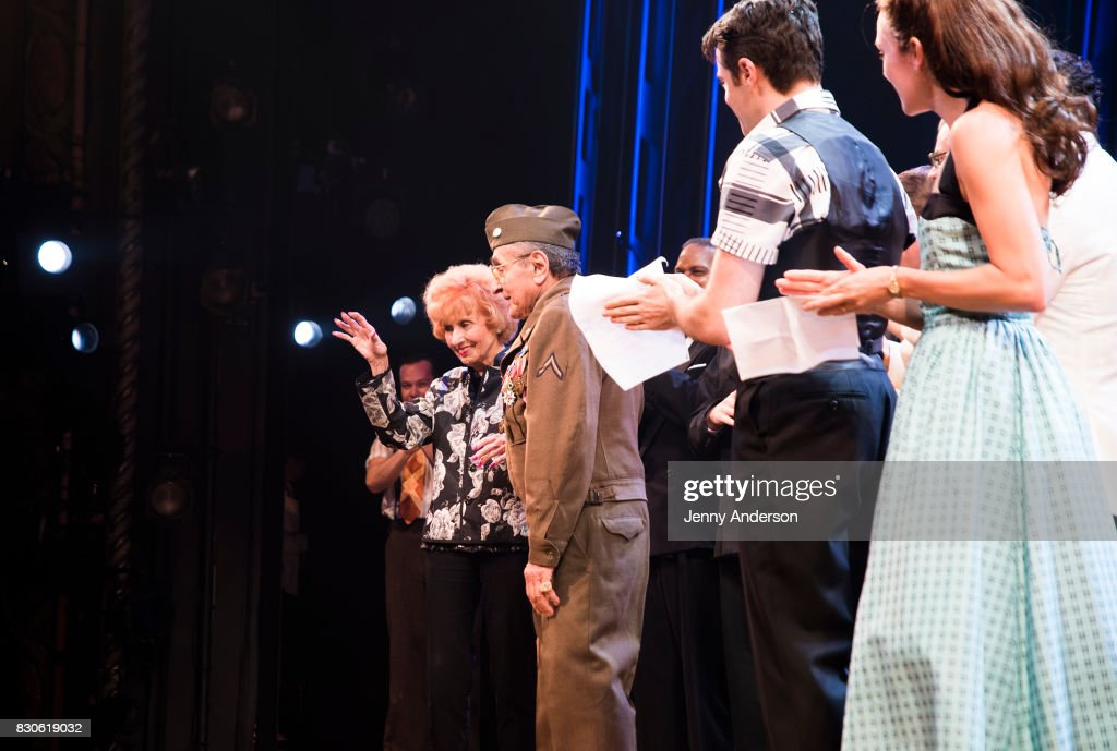 America's Longest Working 'Rosie the Riveter' 97 year old Elinor Otto, decorated Battle of the Bulge Purple Heart recipient 93 year old Luke Gasparre, Corey Cott and Laura Osnes backstage at 'Bandstand' on Broadway at Bernard Jacobs Theater on August 11, 2017 in New York City.