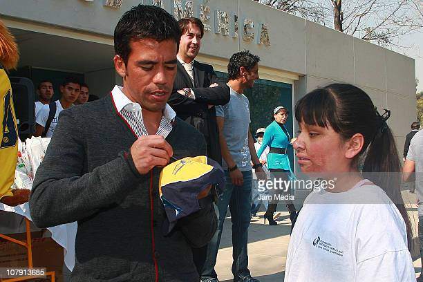 America's soccer player Pavel Pardo during the delivery of toys by the club America to the foundations Michou y Mau and Casa de la Amistad at Coapa...