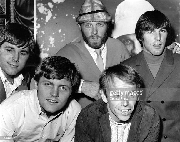 America's top pop group the Beach Boys, from left to right; Carl Wilson , Bruce Johnston, Mike Love, Al Jardine and Dennis Wilson , at a reception...