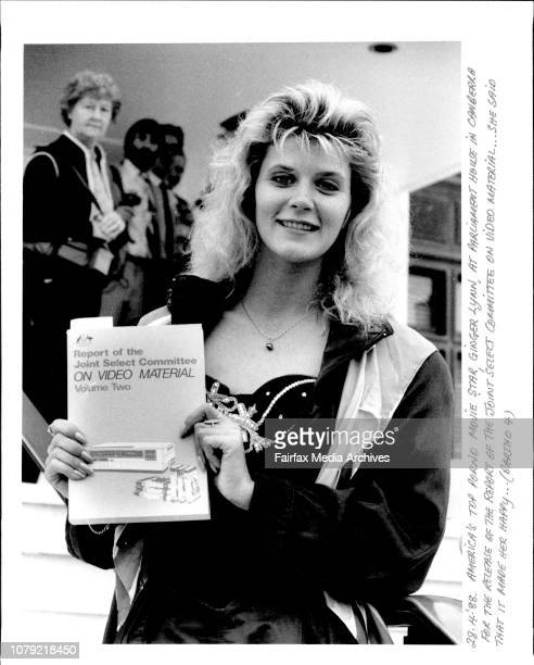 America's top porno move star, Ginger Lynn, at Parliament House in Canberra for the release of the report of the joint select committee on video...