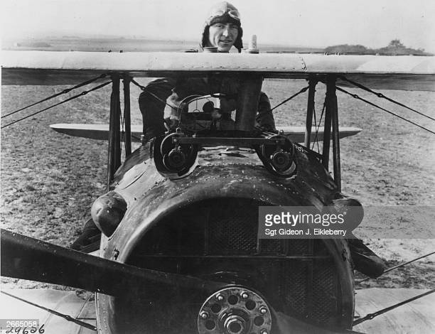 America's top World War I airace Eddie Rickenbacker in the cockpit of his Frenchbuilt SPAD 13 Rickenbacker survived the war with 26 'kills'