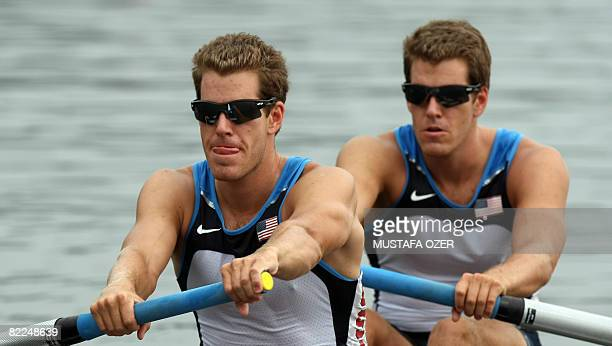 America's Tyler Winklevoss and Cameron Winklevoss power at the start of the men's pair at the Shunyi Rowing and Canoeing Park during the 2008 Beijing...