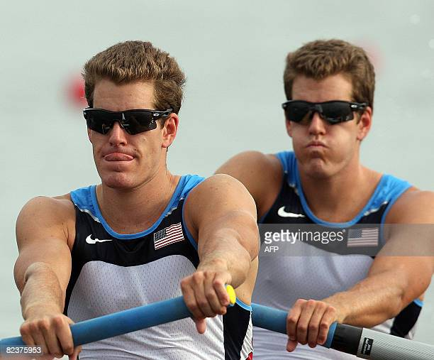 America's Tyler Winklevoss and Cameron Winklevoss power at the start of the men's pair final at the Shunyi Rowing and Canoeing Park during the 2008...