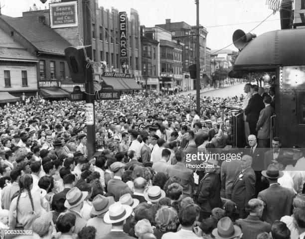 Americna politician US President Harry S Truman addresses a large crowd during a 9000mile coasttocoast campaign tour York Pennsylvania June 18 1948