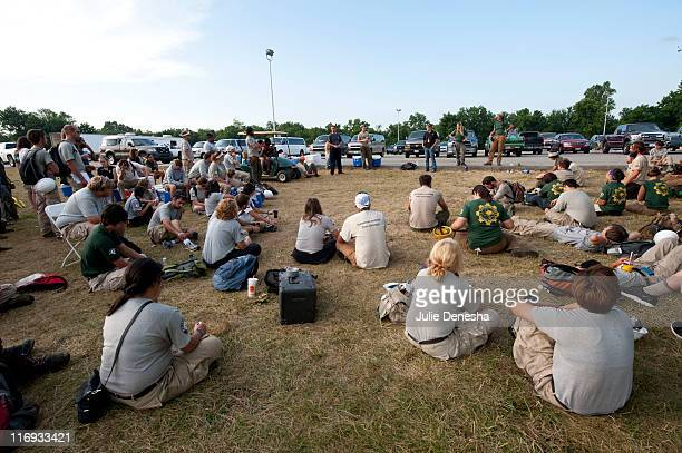AmeriCorps volunteers gather to coordinate disaster relief efforts on the campus of Missouri Southern State University on June 18 2011 in Joplin...