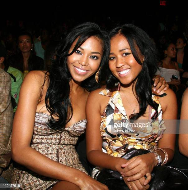 Amerie and Angela Rogers during Olympus Fashion Week Spring 2007 Baby Phat Behind the Scenes at The Tent Bryant Park in New York New York United...