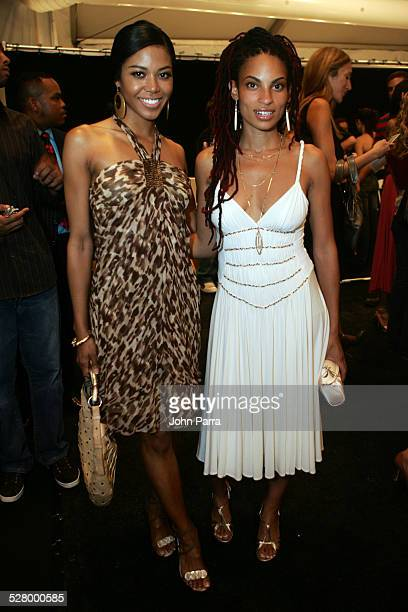 Amerie and Goapele during Olympus Fashion Week Spring 2006 BCBG Max Azria Front Row and Backstage at The Tent in New York City New York United States
