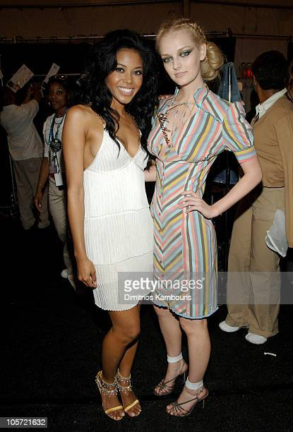 Amerie and Lydia Hearst during Olympus Fashion Week Spring 2006 Fashion For Relief Backstage at Bryant Park in New York City New York United States