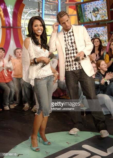 Amerie and MTV VJ Quddus during Amerie Visits MTV's 'TRL' April 22 2005 at MTV Studios Times Square in New York City New York United States