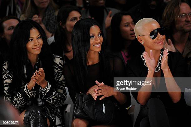 Amerie Ciara and Amber Rose attend the Nicole Miller Spring 2010 Fashion Show at the Salon at Bryant Park on September 11 2009 in New York New York