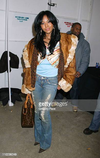 Amerie during Olympus Fashion Week Fall 2005 Baby Phat Front Row and Backstage at Skylight Studios in New York City New York United States