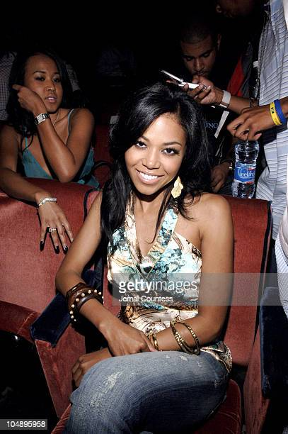 Amerie during Olympus Fashion Week Spring 2006 Baby Phat Front Row and Backstage at Radio City Music Hall in New York City New York United States