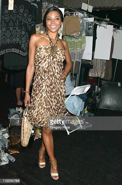 Amerie during Olympus Fashion Week Spring 2006 BCBG Max Azria Front Row and Backstage at Bryant Park in New York City New York United States