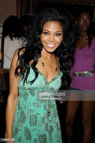 Amerie during Olympus Fashion Week Spring 2006 Fashion For Relief Backstage at Bryant Park in New York City New York United States