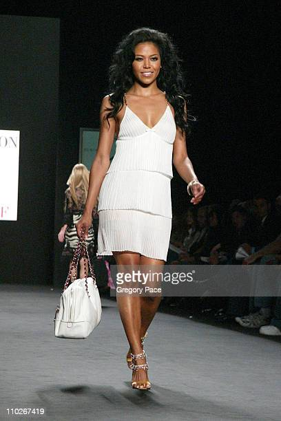 Amerie during Olympus Fashion Week Spring 2006 Fashion For Relief On the Runway at Bryant Park in New York City New York United States
