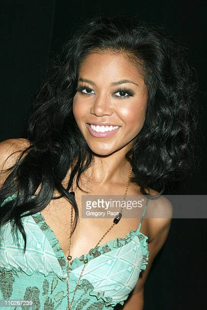 Amerie during Olympus Fashion Week Spring 2006 Fashion For Relief Backstage and Front Row at Bryant Park in New York City New York United States