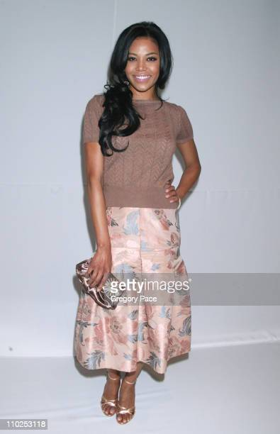 Amerie during Olympus Fashion Week Spring 2006 Luca Luca Backstage at Bryant Park in New York City New York United States