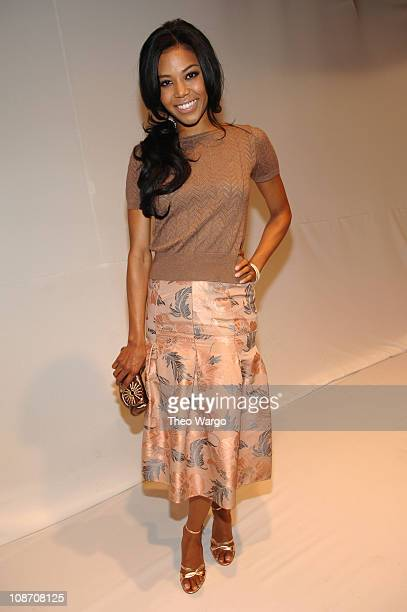 Amerie during Olympus Fashion Week Spring 2006 Luca Luca Front Row and Backstage at Bryant Park in New York City New York United States