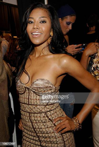 Amerie during Olympus Fashion Week Spring 2007 Baby Phat Backstage at The Tent Bryant Park in New York City New York United States