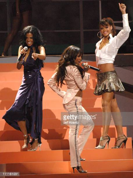 Amerie Teairra Mari and Rihanna perform during 2005 World Music Awards Show at Kodak Theater in Hollywood California United States