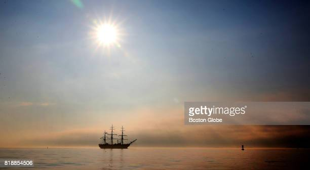 Amerigo Vespucci enters Boston Harbor on the morning of Jul 18 2017 The fullrigged three hundredthirty foot ship is an official training ship of the...