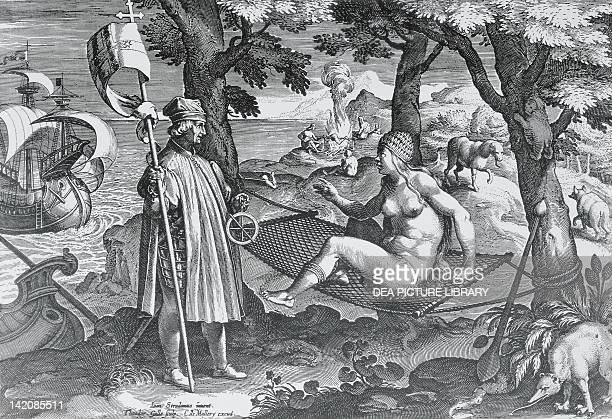 Amerigo Vespucci introducing himself to America allegory engraving by Joannes Sredan and Collaert 1585