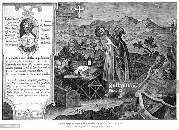 Amerigo Vespucci Italianborn Spanish explorer Shown here observing the constellation of the Southern Cross America named from Latinised form of his...