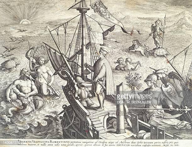 Amerigo Vespucci sailing towards America engraving by Collaert