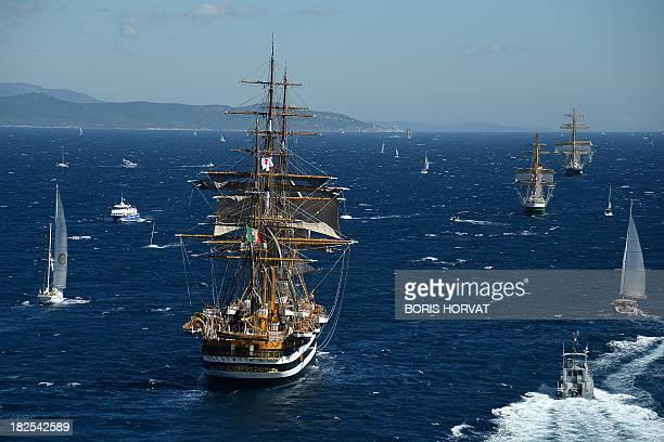 Amerigo Vespucci ship from Italy takes part in the Mediterranean Tall Ships Regatta Voiles de Legende on September 30 2013 in the Mediterranean Sea...