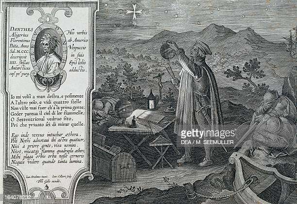Amerigo Vespucci studying the measurement of the earth's sphere by observing the constellation of the Southern Cross using a compass and armillary...