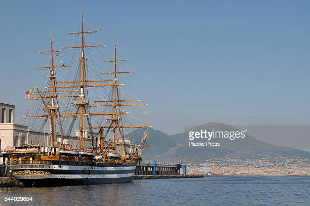 Amerigo Vespucci the most beautiful ship in the world in the Gulf of Naples The training ship of the Italian Navy celebrates 85 years of life