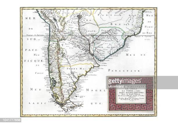 AmerikaSued 1656 Le Paraguay le Chili La Terre et les Isles Magellanicques tirées de diverses relations par N Sanson d'Abbeville Paris 1656