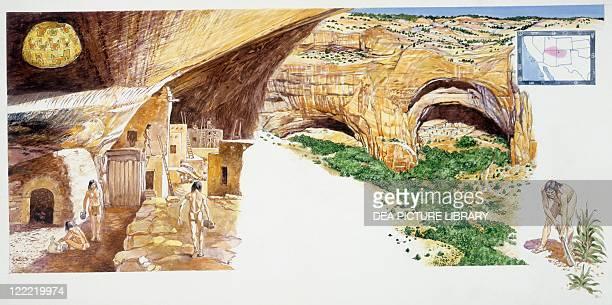 Amerindian civilizations Mesa Verde Canyon map showing ancient Pueblo people territory native Puebloan working the land Color illustration